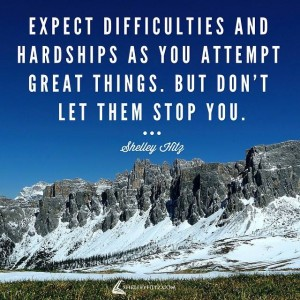 expect difficulties quote