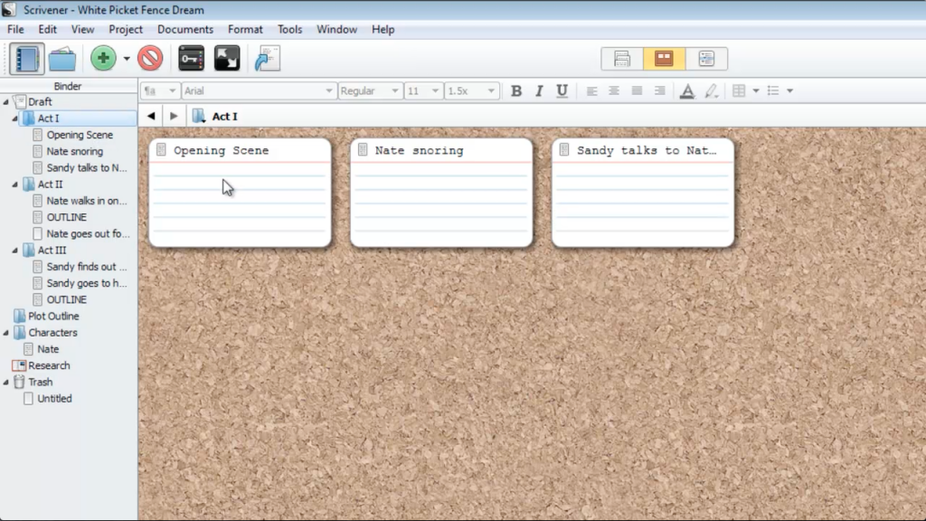 how to use scrivener to outline