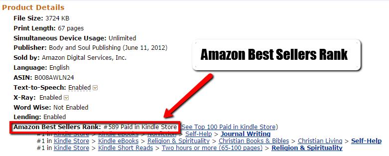 overall Amazon bestseller rank